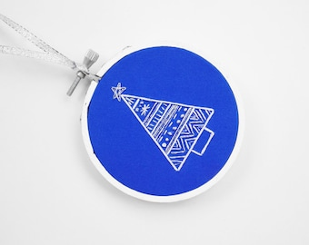 "50% OFF: Cobalt Blue, Silver and White Abstract Christmas Tree 3"" Embroidery Hoop Ornament"