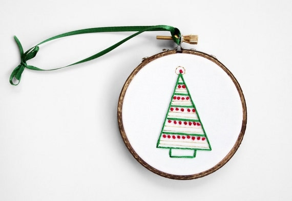 """Christmas Ornament - Simple Tree Shape Embroidered in Red, Green and Gold - 3"""" Hoop Ornament or Holiday Decoration"""