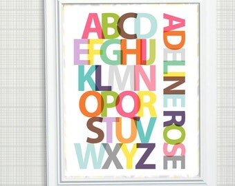 Personalized ABC print, Girls Nursery Art - Modern Alphabet Print, Add Your Name or Text