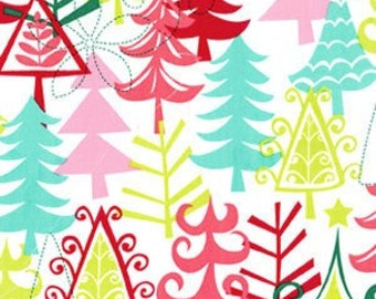 Michael Miller Yule Trees Multi Christmas Fabric - 1 yard