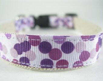 Hemp Dog Collar - Purple Lilac Bubbles - 3/4in