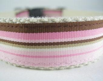 Pink and Brown Stripes Hemp dog collar or leash