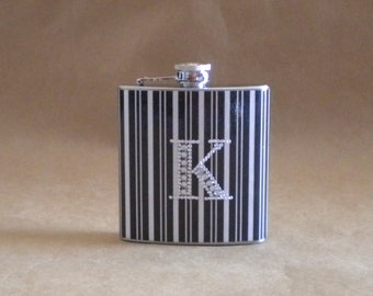 Flask Black and White Stripes Print with ANY Rhinestone Initial 6 ounce Stainless Steel Flask KR2D5079
