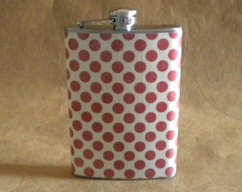 Oklahoma, Alabama, Arkansas, Ohio State Sale Flask Red and Cream Polka Dot Print 8 ounce Stainless Steel Gift Flask KR2D 6101