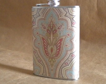 Fancy Victorian Design of Blue, Green, and Coral Print 8 ounce Stainless Steel Gift Flask KR2D 6500