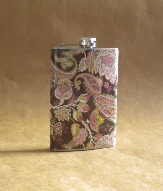 Girly Gift Flask Brown, Pink, and Green Paisley and Floral Print Stainless Steel Girl Gift Flask KR2D 5594
