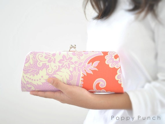 Sandlewood in Tangerine -- X Large Clutch-- Ready to Ship