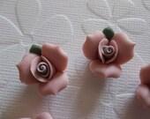 Soft Pastel Mauve Pink Ceramic Rose Flower Flat Back 17mm Cabochons with Green Leaf Qty 6
