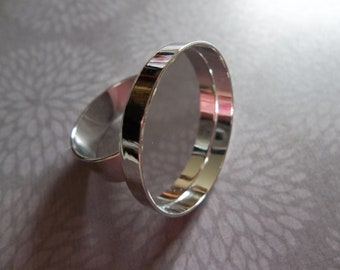 Round Silver Plated Finger Ring - 25mm Bezel Setting - Adjustable - Great for Clay or Cabochons - Qty 1