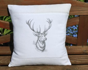 Vintage French Linen Stag Deer Head Cushion Pillow Cover