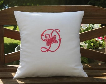 Vintage French Metis Linen Monogram Personalized Embroidered Butterfly Cushion All Initials & Colours