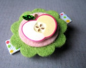 Felt flower hair clip in bright green and white with sliced apple - back to school, uniform, fall