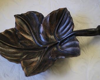 Vintage Mid Century Ceramic Leaf Serving Dish Table Decor Burnished