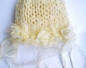 Natural White Newborn Hat Baby Girl flower hat Photo prop Baby girl hats Newborn Girl hat Baptism Gift for baby White Natural chic