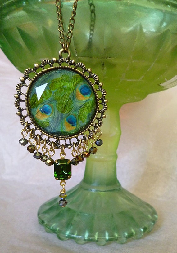 Art Deco Peacock Feather Medallion with Fire Polished AB Glass Beads Tourmaline Swarovski Gem Antiqued Brass Nouveau Beauty Classic Glamour