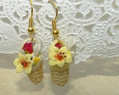 Flower Basket Dangle Earrings with Yellow Lily, White Iris and Red Rose