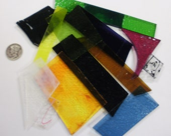 1/4 lb 90 COE Fusible Transparent Color Mix Glass Scrap Assortment