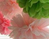 Birthday Party Tissue Paper Pompom Decorations Set of 12 - Your Colors Dessert Table, Wedding, Birthday, Baby Shower