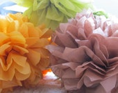 Autumn Tissue Paper Pompom Set of 12 - Your Colors - Wedding, Birthday Party, Baby Shower, Centerpieces