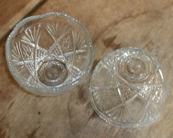 Clearance Vintage 2 Pressed Cut Clear Glass Bowls Candy Nut Fruit Dish Catch All Serve Home Decor Kitchen Dining Entertaining Wedding Party