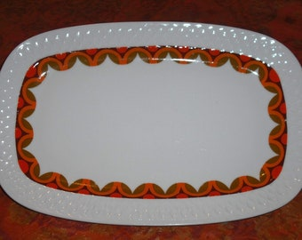 Vintage Schirnding Bavaria Platter Orange Brown Half Circles Embossed Eames Era Retro Serving Home Kitchen Dining Wedding Entertaining