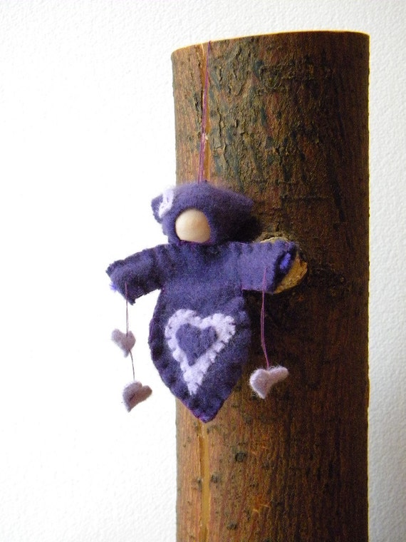 Waldorf Doll Ornament, Waldorf Decor, Ornament, Winter, Purple Heart Child, Girl Birthday, NKTeam