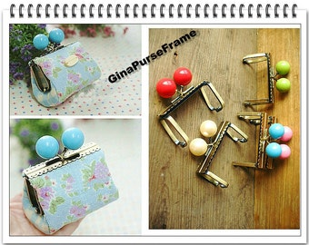 5pieces- 7cm (2.75inch) super-cute Lace-edge Candy-bead Channel type Metal bag purse frame with sewing hole (antique brass color)