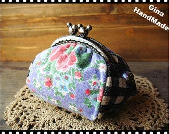 Purple Rose Metal frame purse/coin purse / Coin Wallet /Pouch / Kiss lock frame bag-GinaHandMade