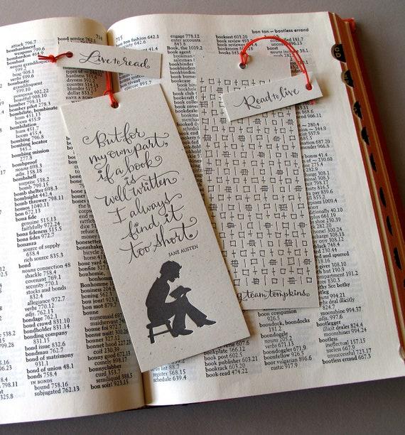 LETTERPRESS BOOKMARK - But for my own part, if a book is well written... Jane Austen