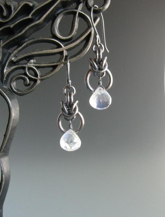 Chain Mail Earrings Byzantine Drop with Rainbow Moonstone