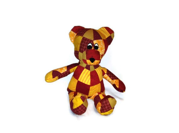 49ers or USC Team colors  - Patchwork Bear Stuffed Animal - Awesome Gift for Fan - Ready to Ship