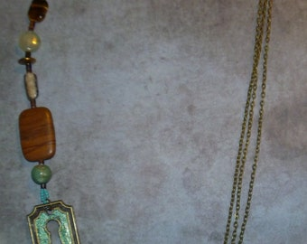 Asymmetrical keyhole & semiprecious stones antique bronze necklace