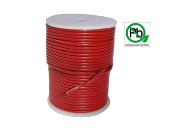Round Leather Cord Red 2mm 10meters