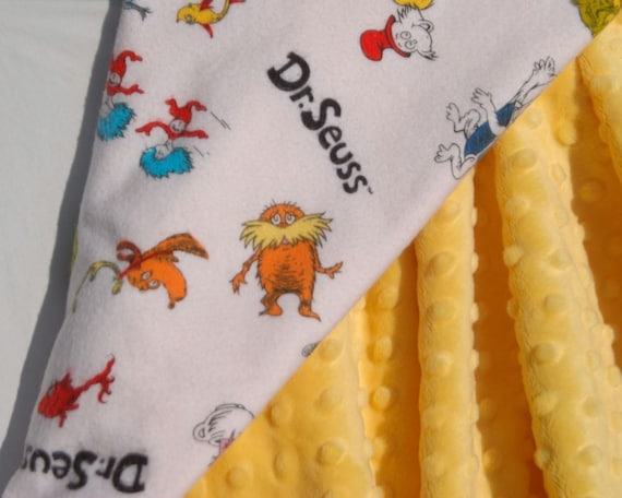 Ready to Ship - Dr. Seuss Flannel Baby Blanket - Gender Neutral - Dr. Seuss Character Toss on White with Yellow Minky