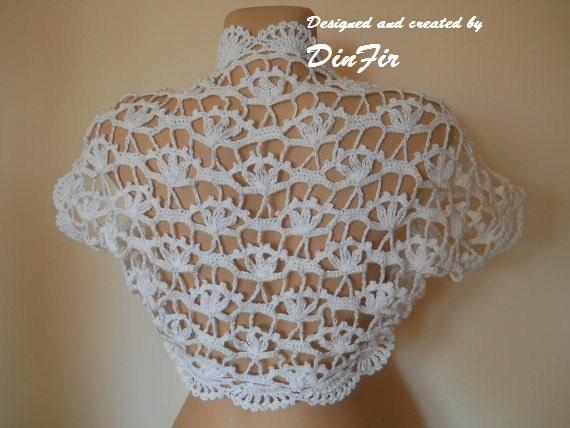 COTTON  BOLERO  SHRUG,  Short Sleeve Bridal Shrug Bolero, Wedding Crocheted White Shrug