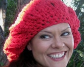 Jayla Spring Big Slouch Hat, Cherry Red, Cotton--Crochet, Fashion