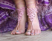 Barefoot Sandals, Foot lace sexy nude shoes, Foot jewelry, Wedding, Beach sandals, Belly dance,, Yoga, Anklet