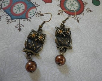 Owl with a Brown Pearl Earrings