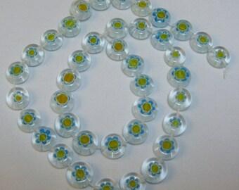 "Glass Millifiori Coin Blue/Clear  Beads 1 - 15"" Strand"