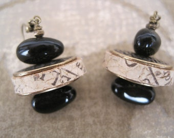 Wine Cork Earrings with Black Glass Beads and Antique Bronze Accents - Recycled Wine Cork