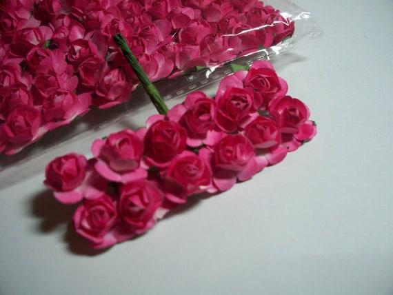 Mini Paper Flowers Hot Pink