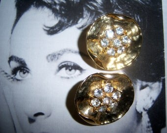 Unsigned Hammered Gold tone and Chaton Earrings