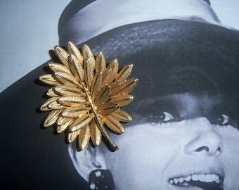 Har Signed Large Gold tone Three Dimensional Leaf Brooch  Circa 1950