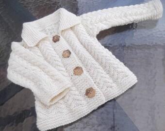 Knit Baby Girl Ecru Wool Jacket.