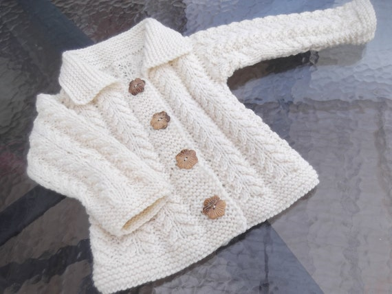 Knit Baby Girl Ecru Wool Jacket.