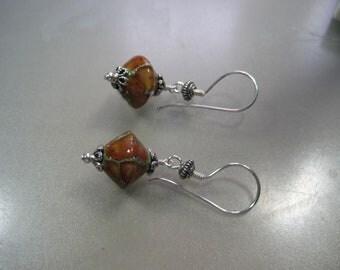 Reddish Brown and Silver Lampwork,  Earrings  ES851