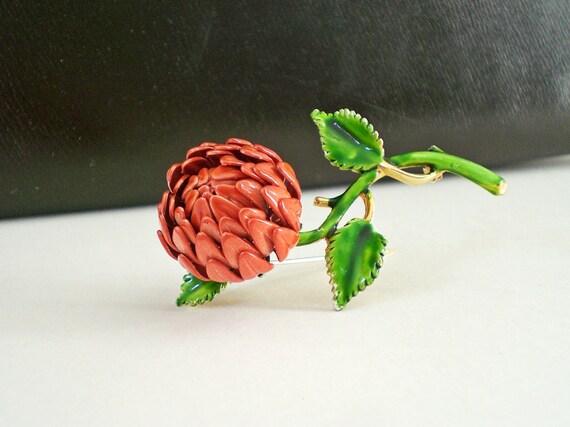 Vintage Enamel Pin, Orange  Flower Brooch, Autumn Jewelry