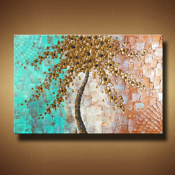 Abstract Tree Palette Knife Painting with Heavy Texture -- 24 x 36 -- The Pastel Petals by Britt Hallowell