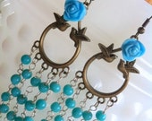 long turquoise earrings....chandelier.......romantic......flower jewelry....roses