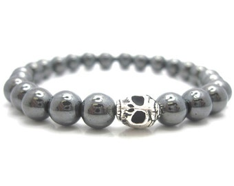 Mens Hematite Skull Energy Bracelet with Pouch